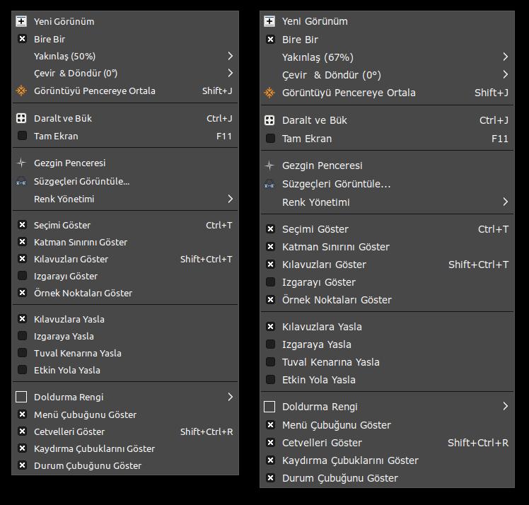 GIMP arayüz font kıyaslaması